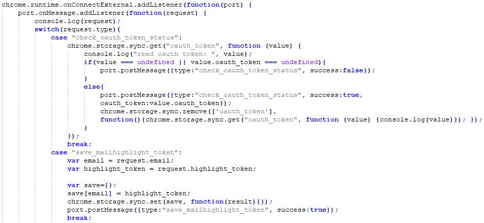 Extensión de código malicioso