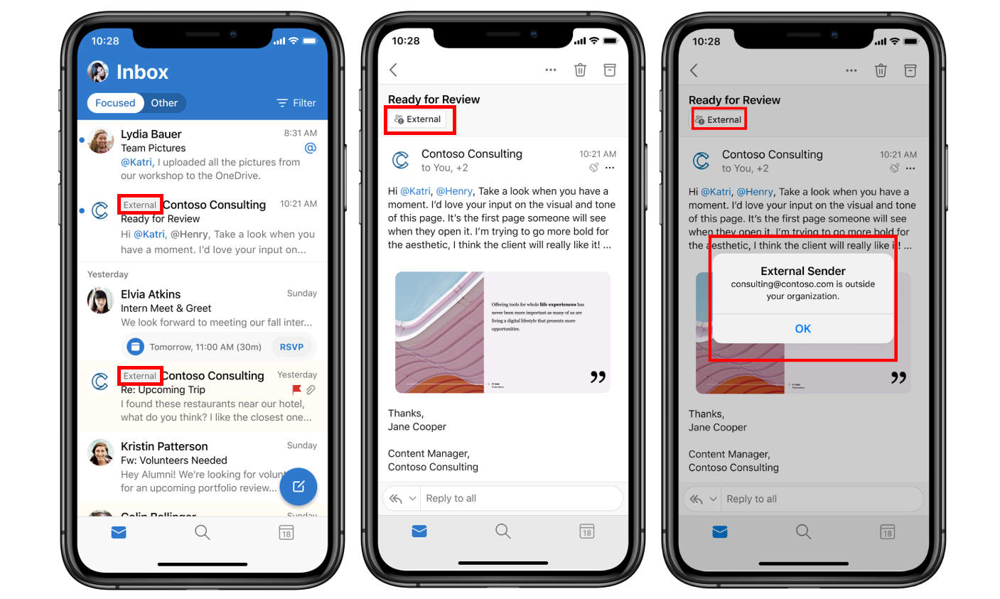 external email tag in mobile