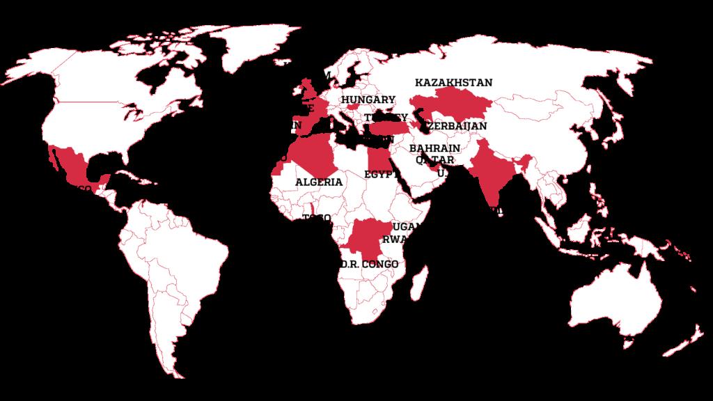 Países onde jornalistas foram alvos de spyware (histórias proibidas)