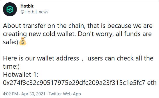 Hotbit cold wallet