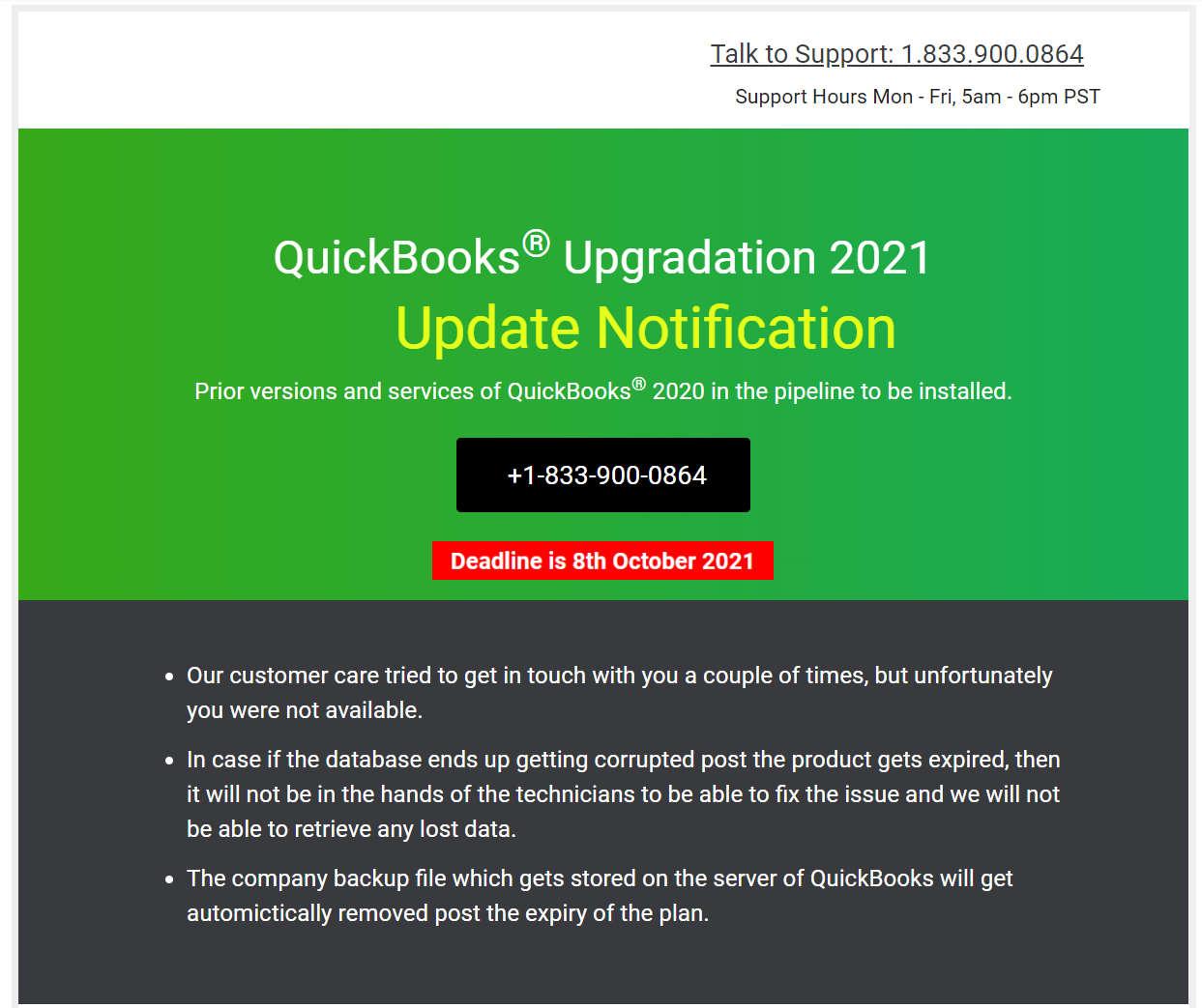 QuickBooks deadline scam