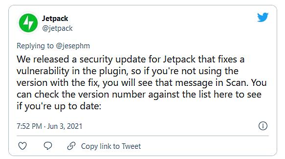 Jetpack tweet