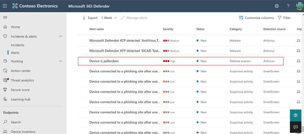 Microsoft Defender for Endpoint iOS jailbreak alert