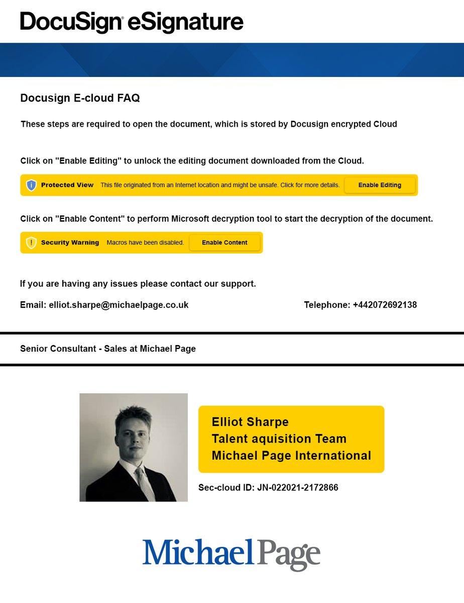 Malicious phishing document