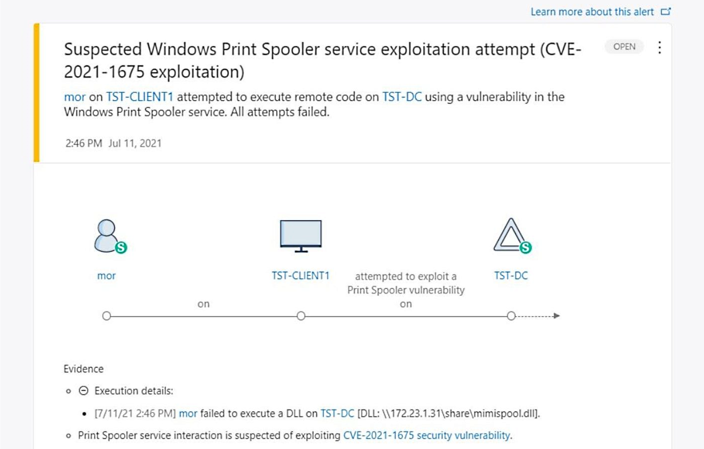 Microsoft Defender for Identity detects a PrintNightmare exploit attempt