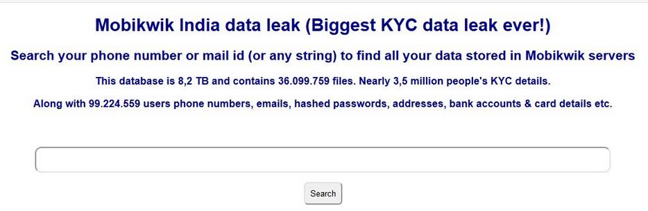MobiKwik data leak Onion portal