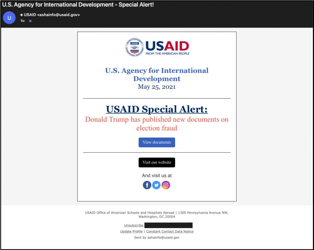 Nobelium spear phishing email
