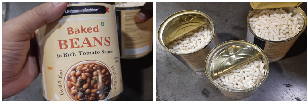 Pain killers hidden inside cans of baked beans