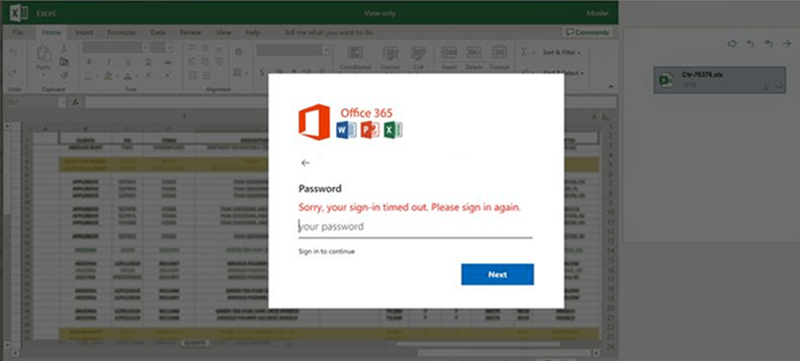 Office 365 credentials phishing dialog