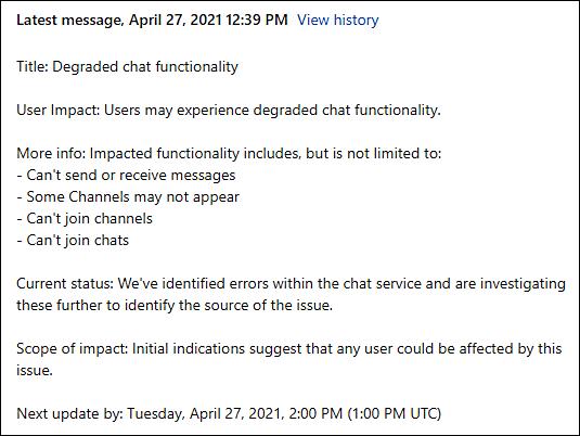 Teams April outage