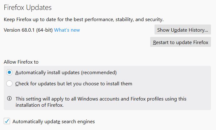 Opción de actualización automática de Firefox