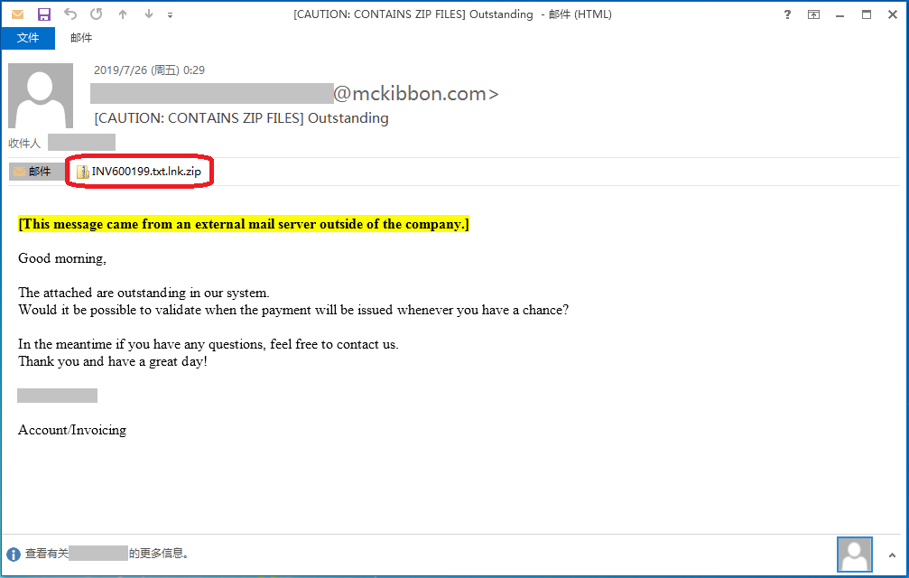 Malspam email sample