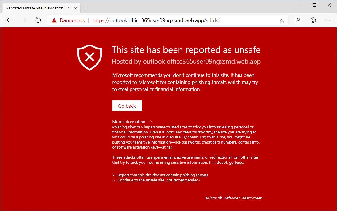 Alerta de Microsoft Defender SmartScreen