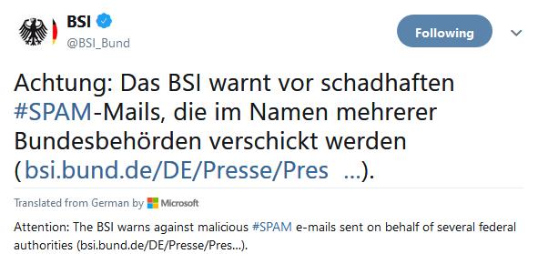 BSI advierte contra correos electrónicos SPAM maliciosos que entregan cargas útiles de Emotet