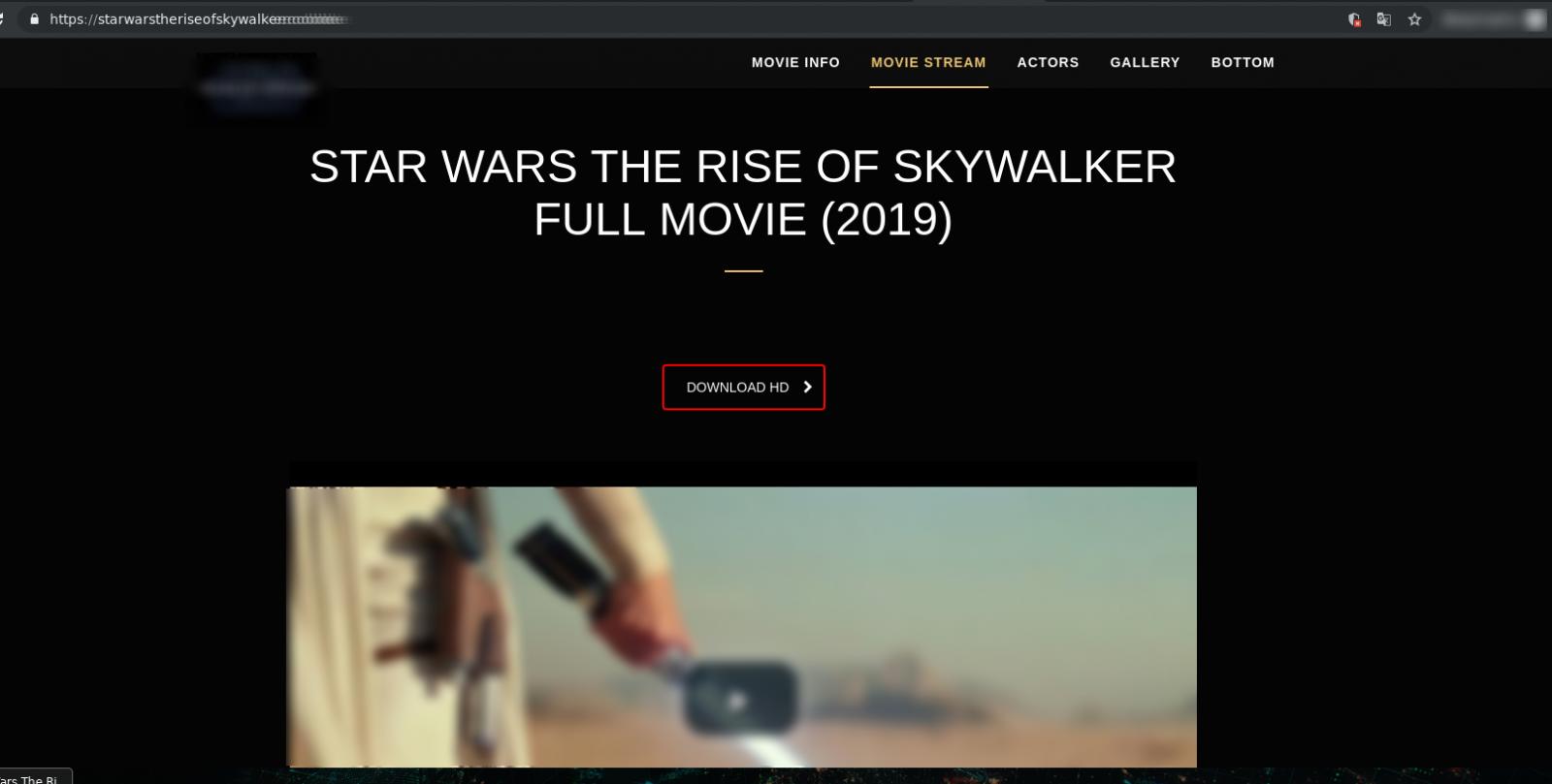 Fake streaming site