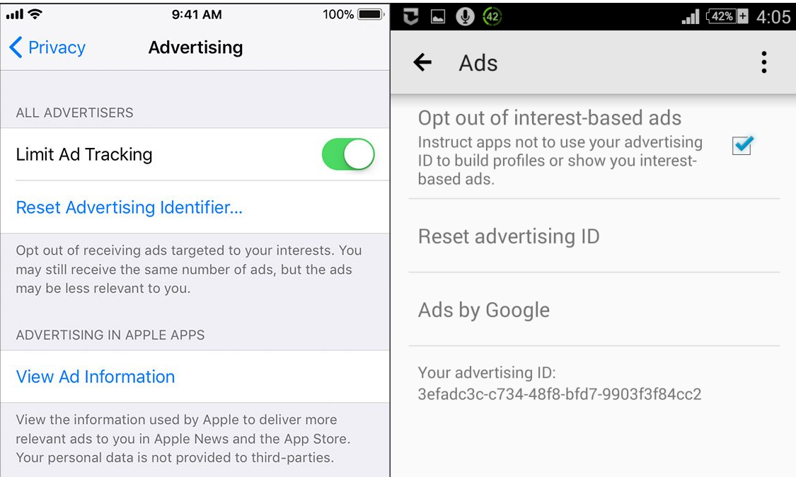 Advertising ID reset option on iOS and Android