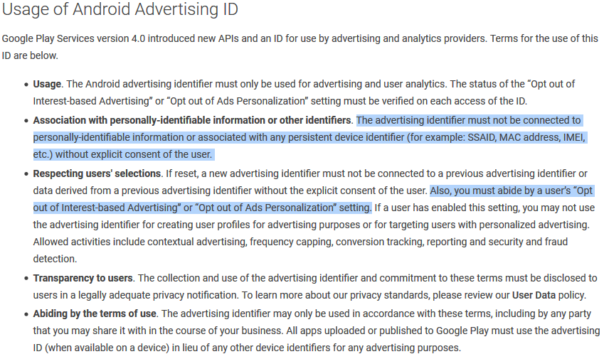 Google Play Store Advertising ID policy guidance