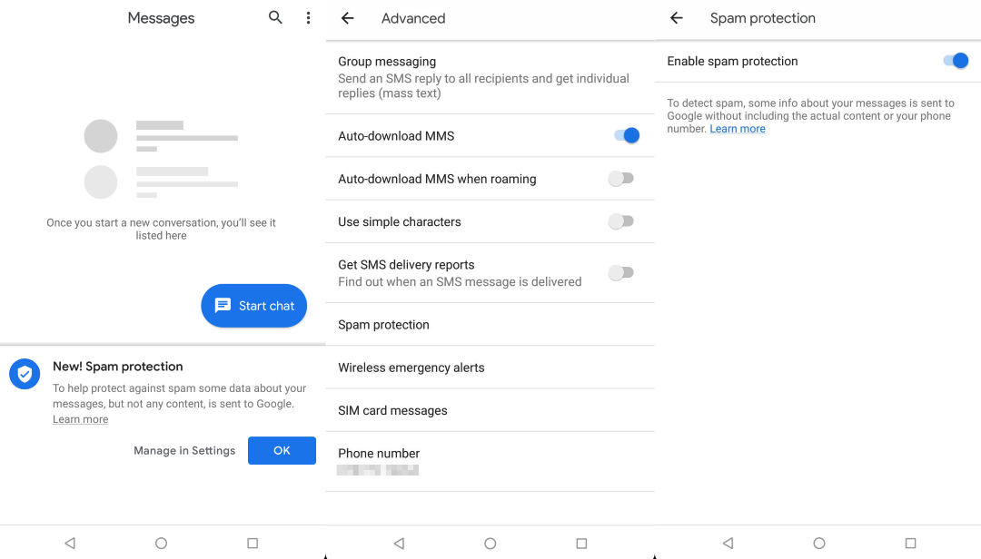 Android Messages Can Now Detect and Block Spam