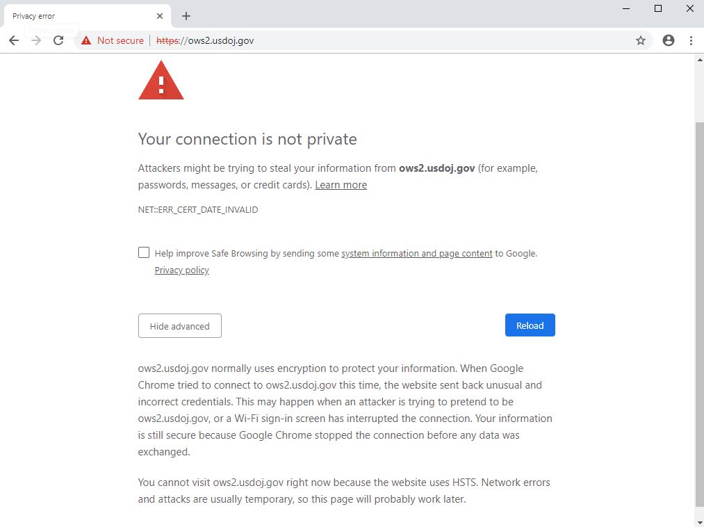 U S  Government Shutdown Leaves Its Sites with Expired TLS