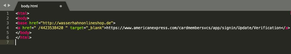 Página de inicio de phishing hipervínculo