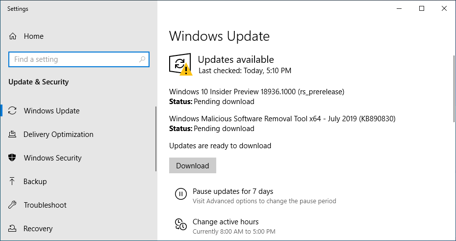 Windows 10 20H1 Build 18936 Released With Passwordless Sign-in