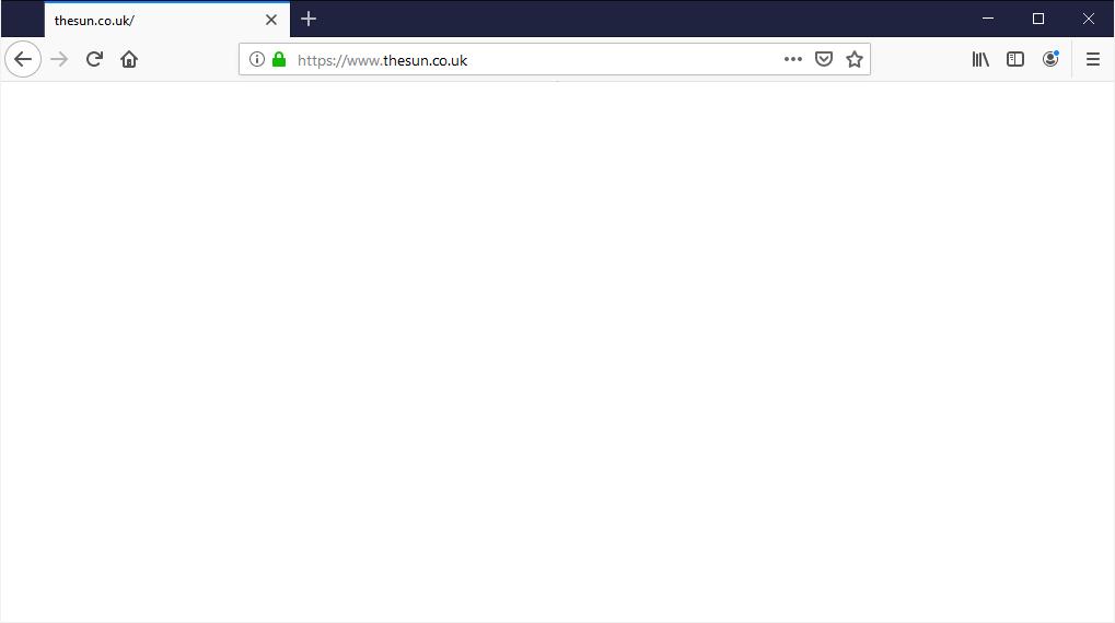 Site VIP GO mostrando uma página em branco