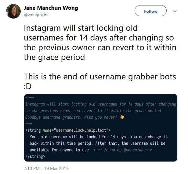 Instagram Testing Anti-Squatting Feature that Locks Old Usernames
