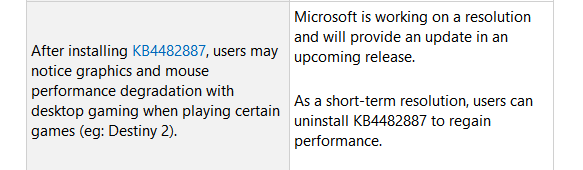 Windows 10 KB4482887 Cumulative Update Causing Major
