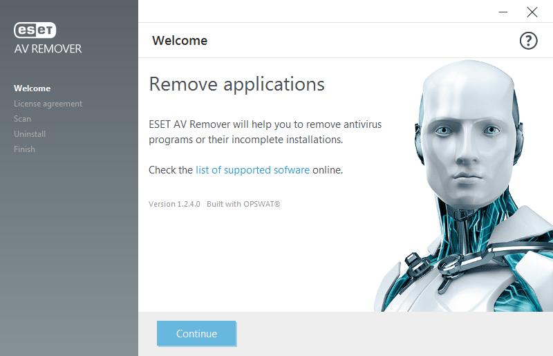 ESET AV Remover installation screen