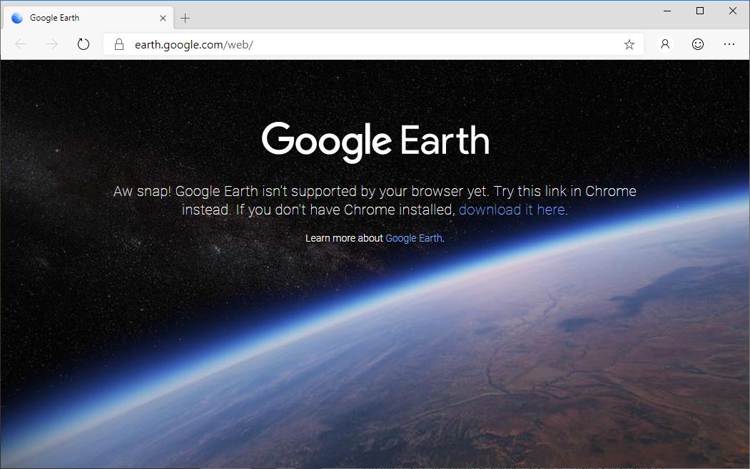 Microsoft PM Explains Why Chromium Edge Can't Run Google Earth