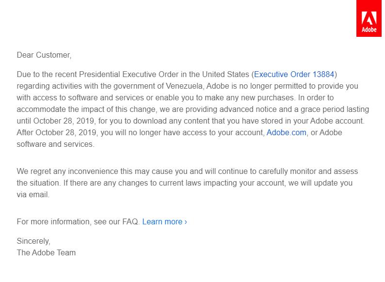 Carta de Adobe explicando su decisión