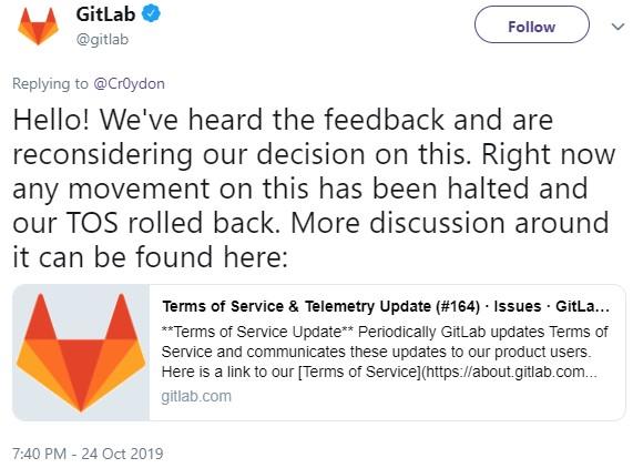 GitLab rolling back ToS changes