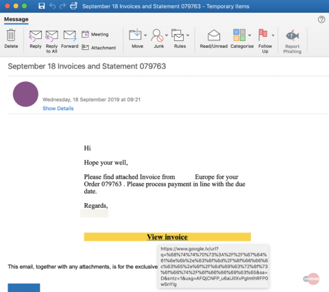 Phishing email sample