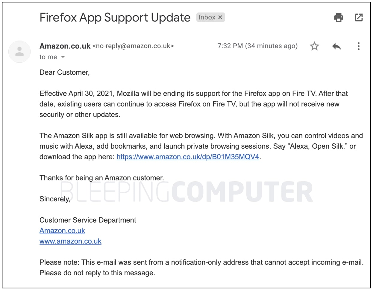 Amazon Fire drops Firefox support