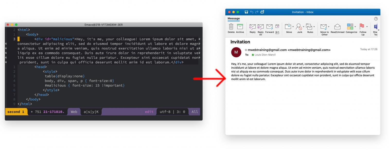 CSS code hides external sender warning