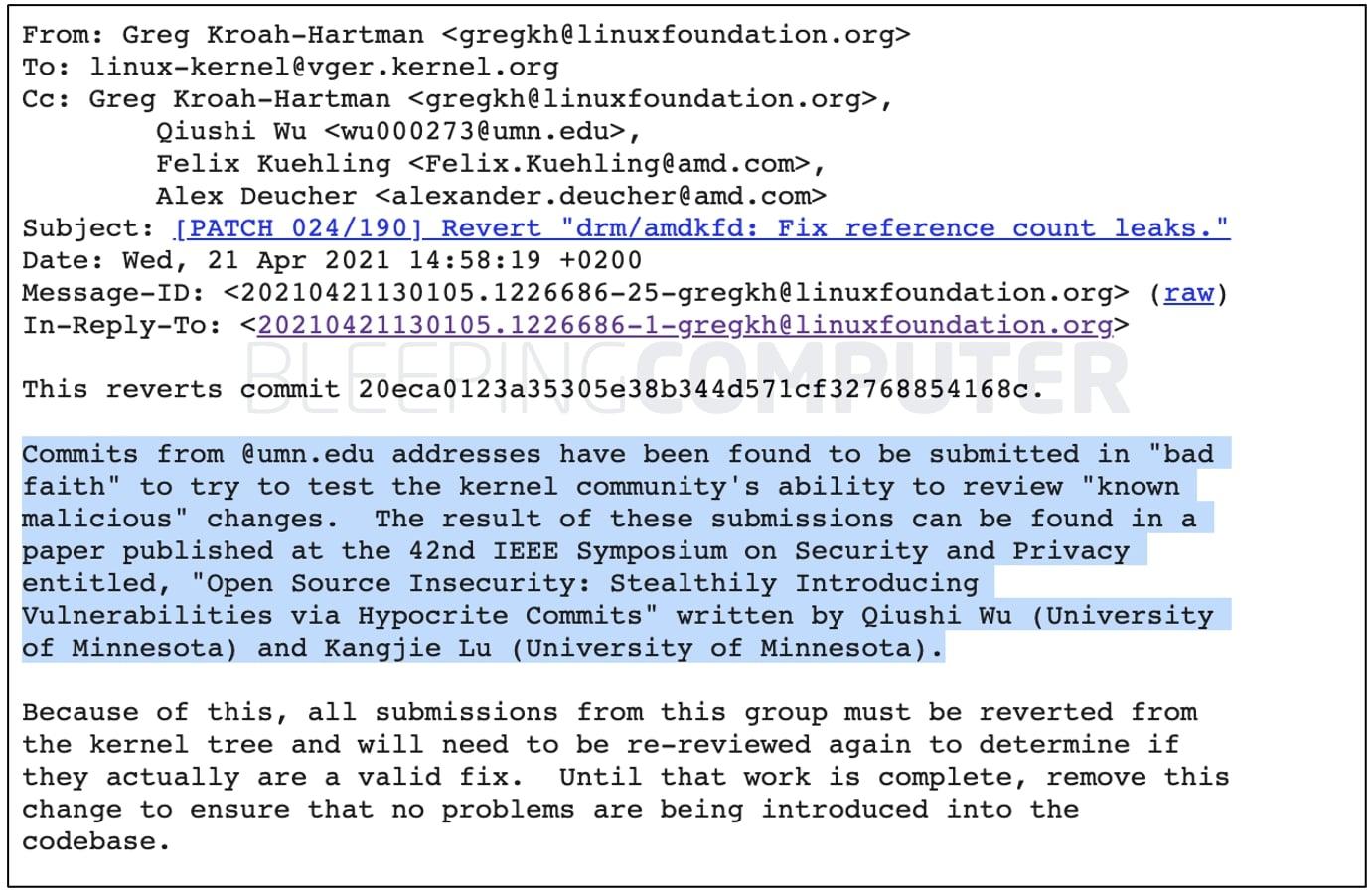 emails from Greg Kroah-Hartman
