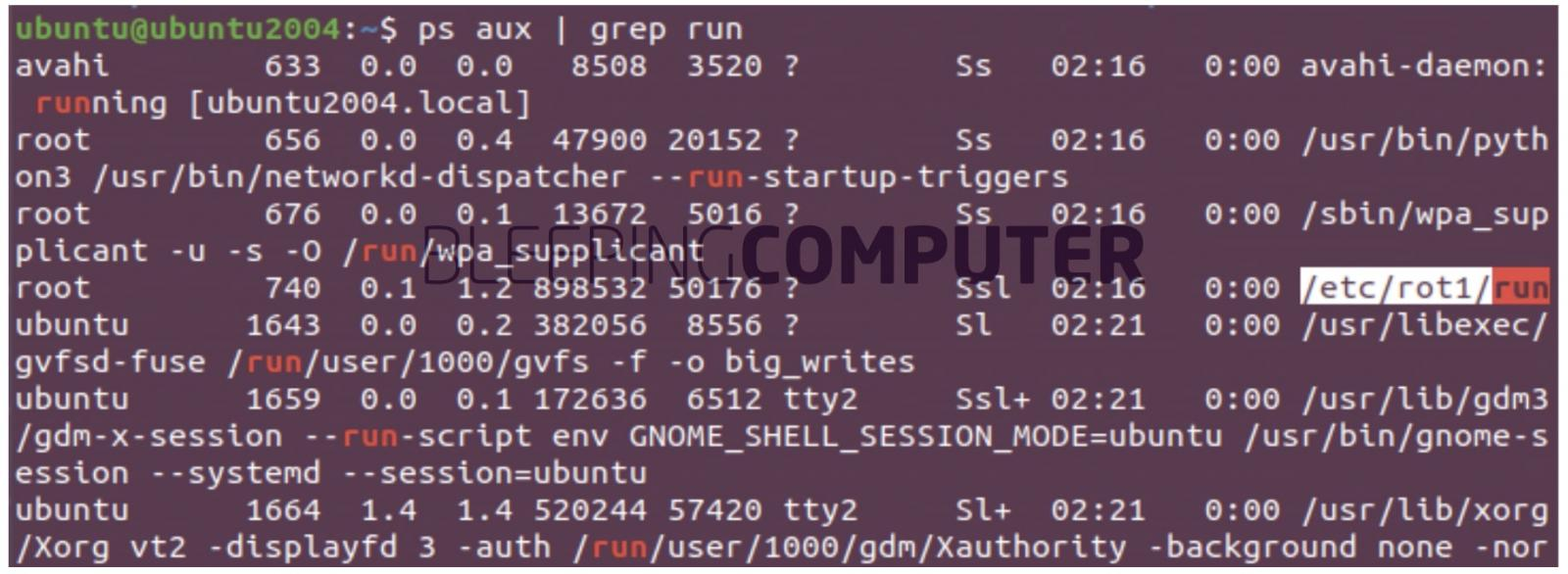 ps aux results for run executable
