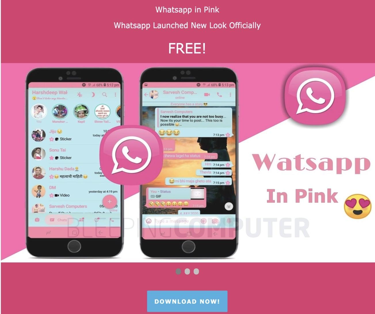 whatsapp pink scam site