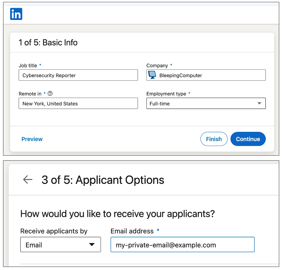 linkedin test job posting