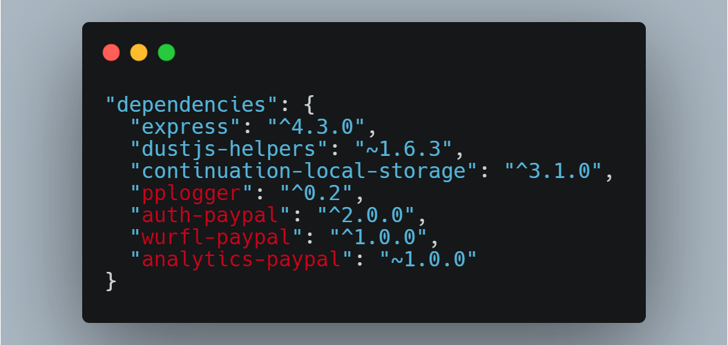 Public and private (internally created) dependencies for a PayPal package