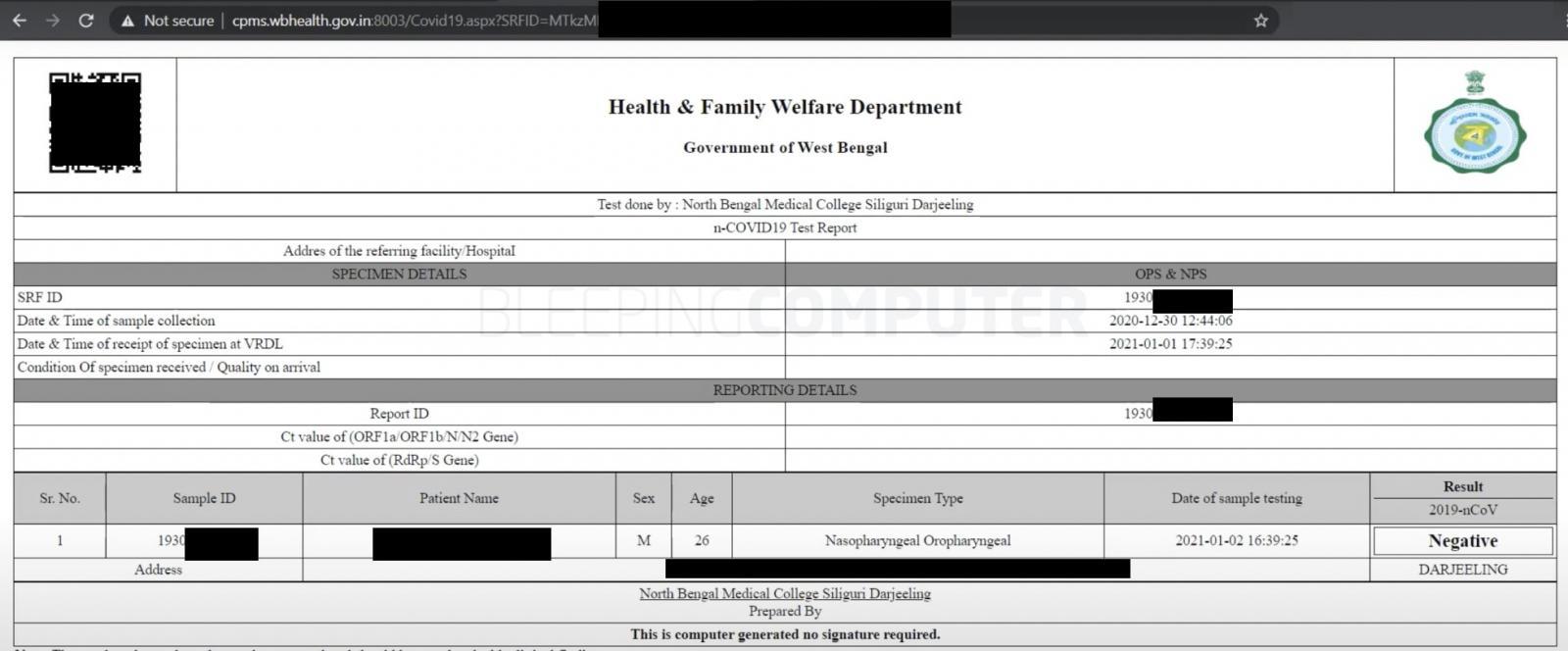 COVID-19 test report india