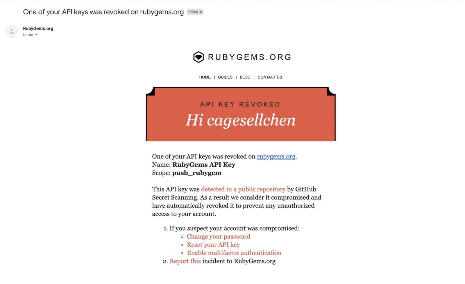 Secreto comprometido del correo electrónico de RubyGems