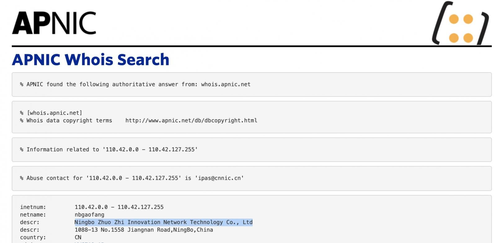 whois record for 110.42.4.180
