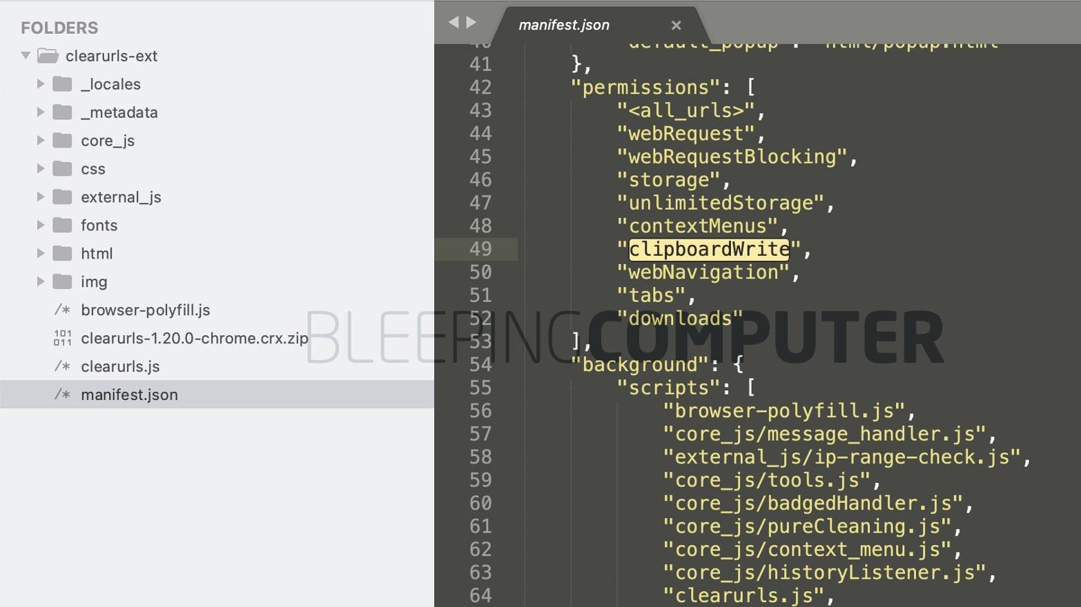 ClearURLs uses clipboardWrite permission