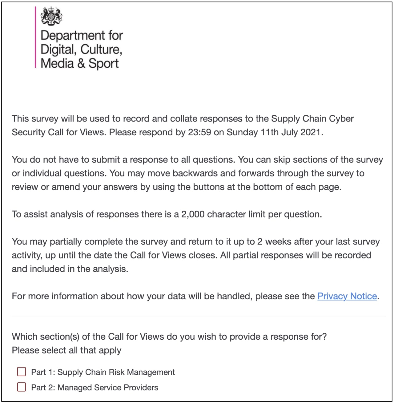 uk government survey supply-chain security