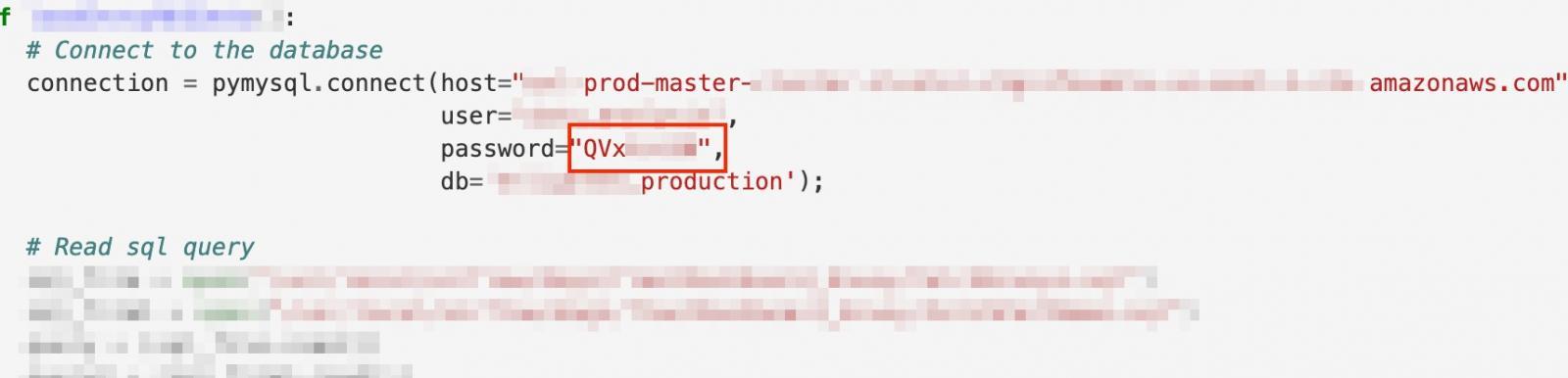 production environment credentials leak