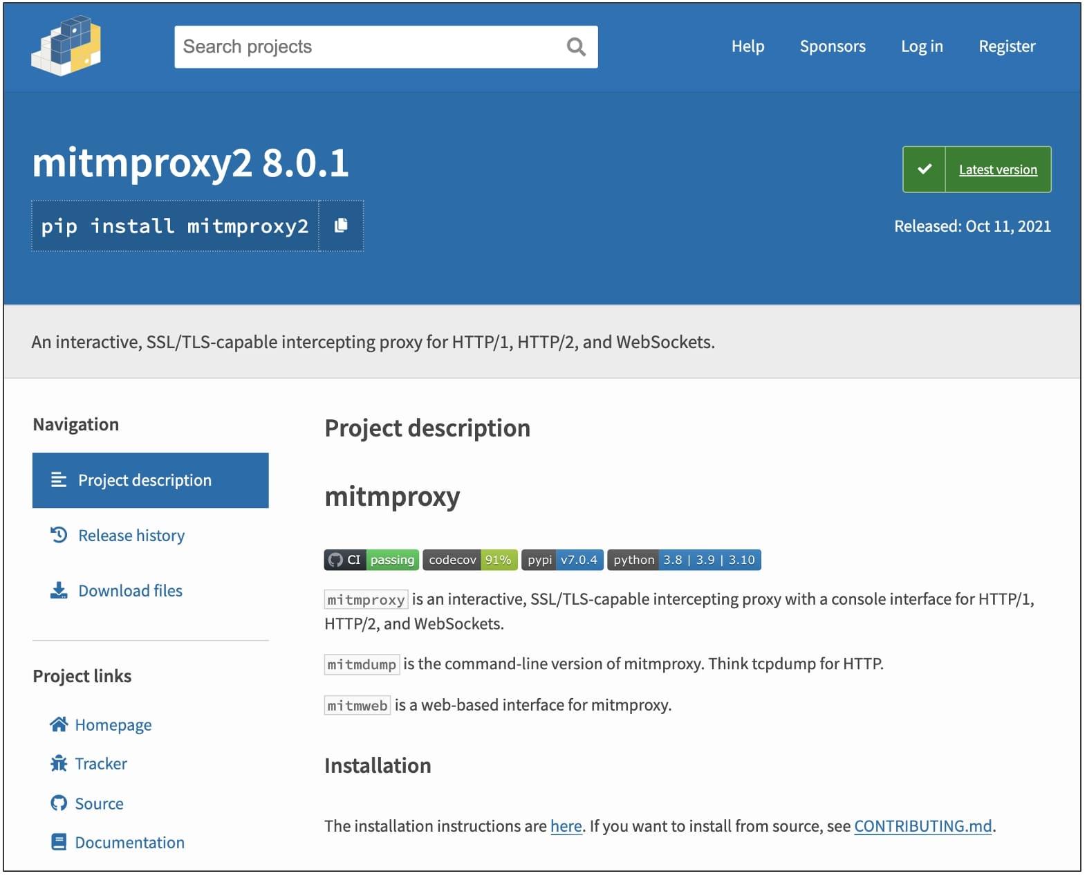 mitmproxy2 pypi page
