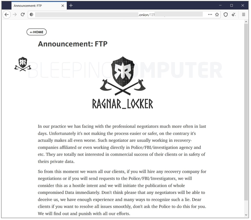 ragnar locker leak site note