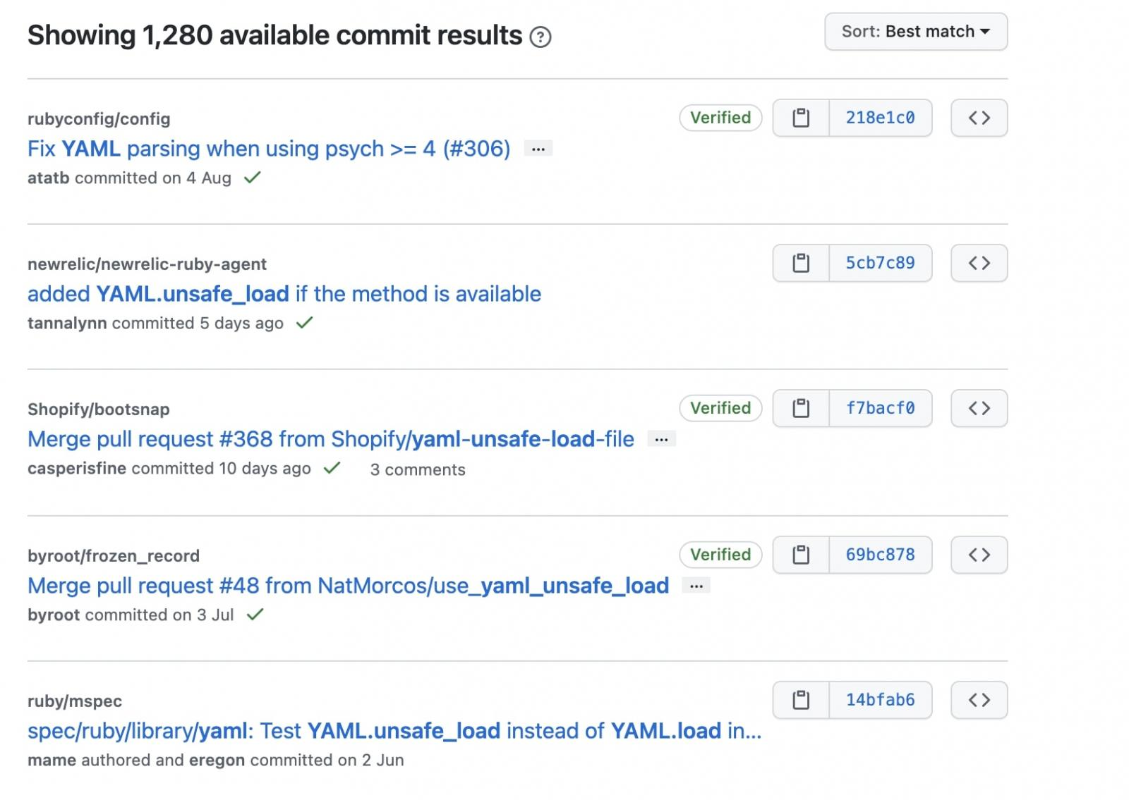 github results for applications using unsafe_load